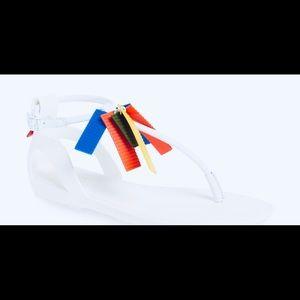 Hunter T Strap White Colorful Sandals.